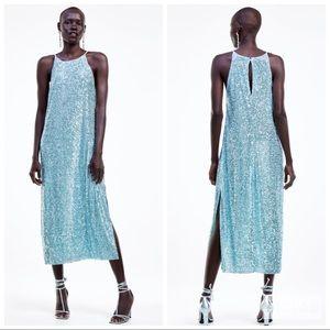 NWT • Zara • Sequin Halter Dress